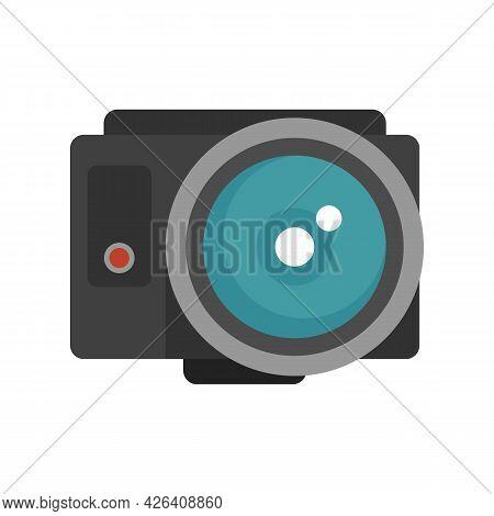 Fish Eye Action Camera Icon. Flat Illustration Of Fish Eye Action Camera Vector Icon Isolated On Whi