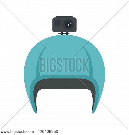 Action Camera On Helmet Icon. Flat Illustration Of Action Camera On Helmet Vector Icon Isolated On W