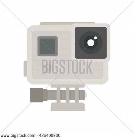 Sport Action Camera Icon. Flat Illustration Of Sport Action Camera Vector Icon Isolated On White Bac
