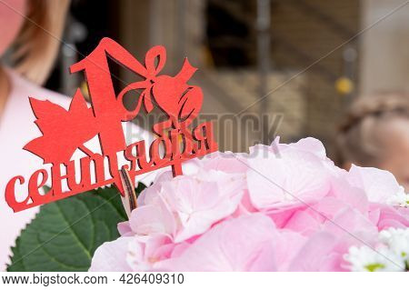 School Bouquet With Pink Hydrangea.1 September, Back To School Concept .beautiful Flowers For Teache