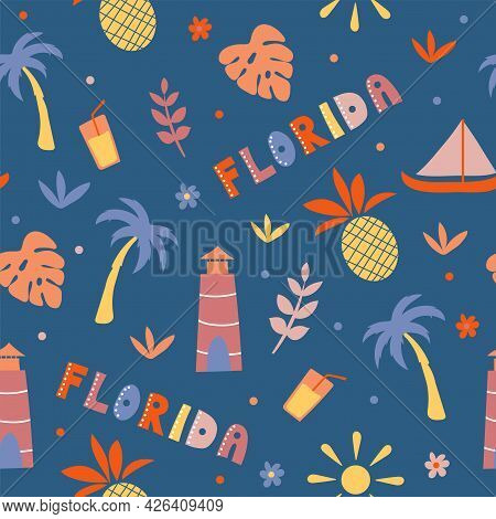 Usa Collection. Vector Illustration Of Florida Theme. State Symbols - Seamless Pattern