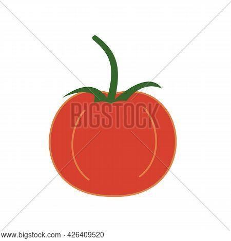 Single Simple Red Tomato With Green Stalk, Icon. Fresh Vegetable. Hand-drawn Vector. Healthy Delicio