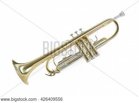 Trumpet Isolated On White. Wind Musical Instrument