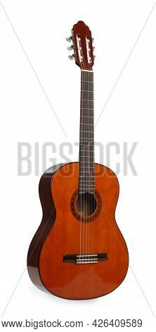 Acoustic Guitar Isolated On White. String Musical Instrument