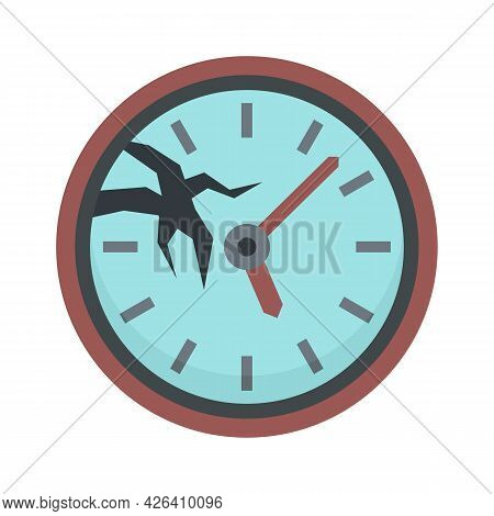 Broken Wall Clock Icon. Flat Illustration Of Broken Wall Clock Vector Icon Isolated On White Backgro