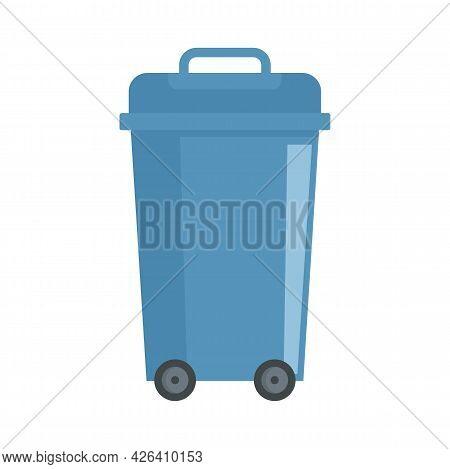 Plastic Garbage Bin Icon. Flat Illustration Of Plastic Garbage Bin Vector Icon Isolated On White Bac