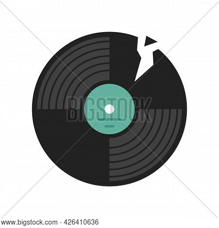Broken Vinyl Disc Icon. Flat Illustration Of Broken Vinyl Disc Vector Icon Isolated On White Backgro