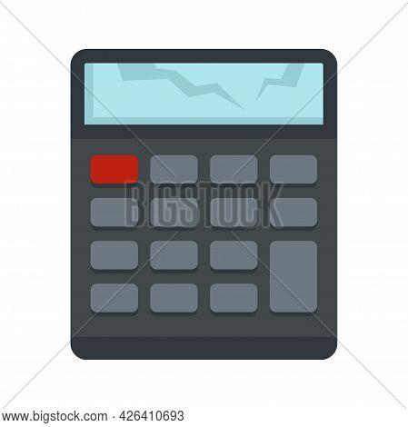 Broken Calculator Icon. Flat Illustration Of Broken Calculator Vector Icon Isolated On White Backgro