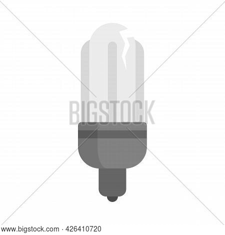Broken Eco Bulb Icon. Flat Illustration Of Broken Eco Bulb Vector Icon Isolated On White Background