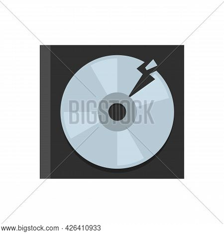 Garbage Cd Disk Icon. Flat Illustration Of Garbage Cd Disk Vector Icon Isolated On White Background