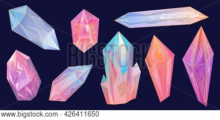 Set Is Beautiful Gemstone, Crystals Are An Excellent Design For Any Purpose. Rainbow Texture With Go