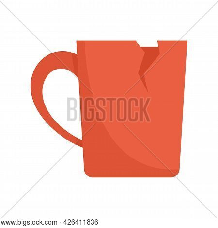 Cracked Cup Icon. Flat Illustration Of Cracked Cup Vector Icon Isolated On White Background