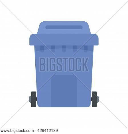 Plastic Garbage Box Icon. Flat Illustration Of Plastic Garbage Box Vector Icon Isolated On White Bac
