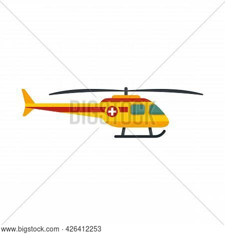 Rescue Helicopter Icon. Flat Illustration Of Rescue Helicopter Vector Icon Isolated On White Backgro
