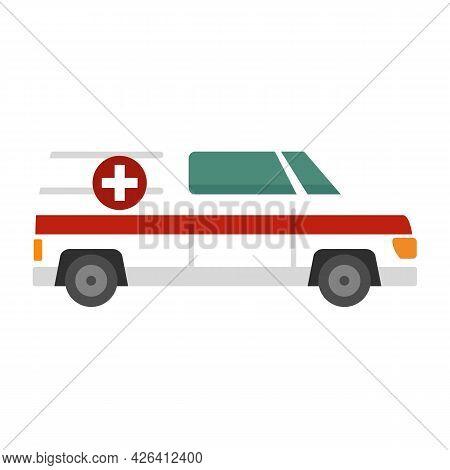 Paramedic Ambulance Icon. Flat Illustration Of Paramedic Ambulance Vector Icon Isolated On White Bac