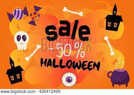 Banner For A Halloween Sale. Orange Background With Inscription Sale 50 Percent. The Decor Of The Te