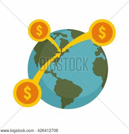 Global Money Crowdfunding Icon. Flat Illustration Of Global Money Crowdfunding Vector Icon Isolated
