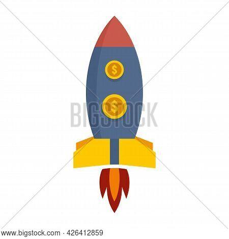 Crowdfunding Rocket Icon. Flat Illustration Of Crowdfunding Rocket Vector Icon Isolated On White Bac