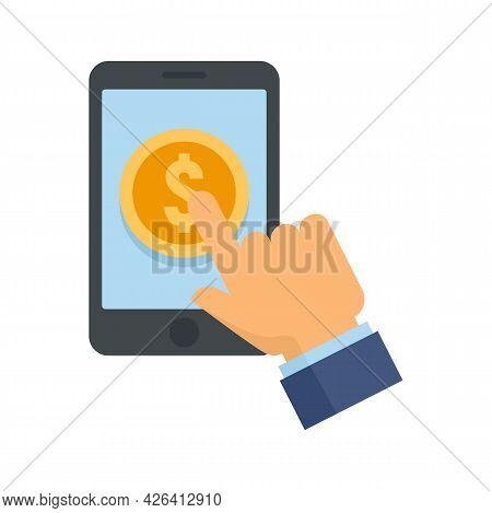 Smartphone Crowdfunding Icon. Flat Illustration Of Smartphone Crowdfunding Vector Icon Isolated On W