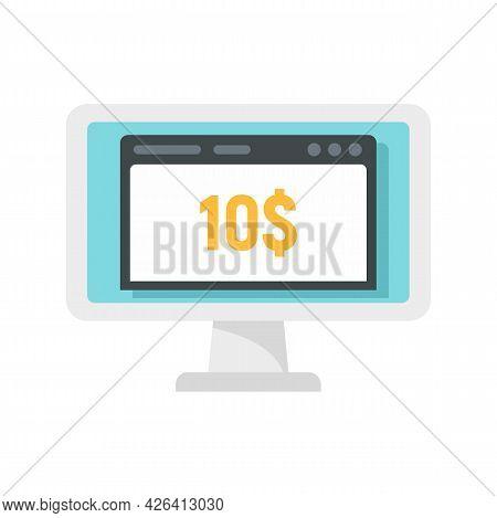 Monitor Crowdfunding Icon. Flat Illustration Of Monitor Crowdfunding Vector Icon Isolated On White B