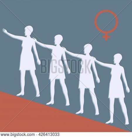 Group Of Women, Gender Sign - Vector. Banner. Women's Equality Day. August, 26th.
