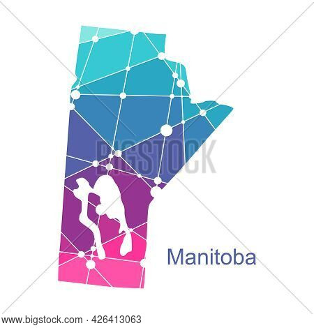 Map Of Manitoba. Concept Of Travel And Geography Of Canada.