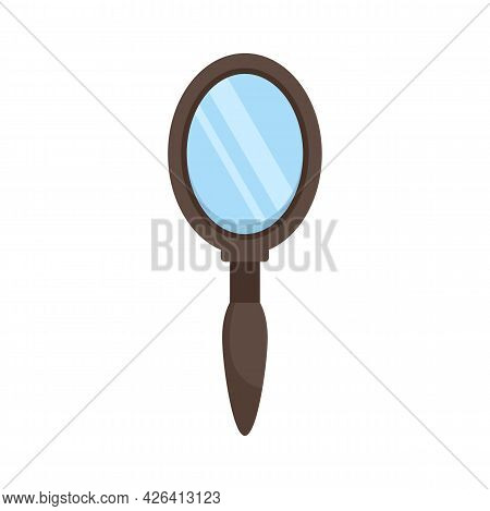 Wood Hand Mirror Icon. Flat Illustration Of Wood Hand Mirror Vector Icon Isolated On White Backgroun