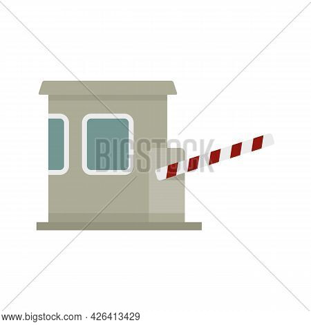 Toll Road Station Icon. Flat Illustration Of Toll Road Station Vector Icon Isolated On White Backgro