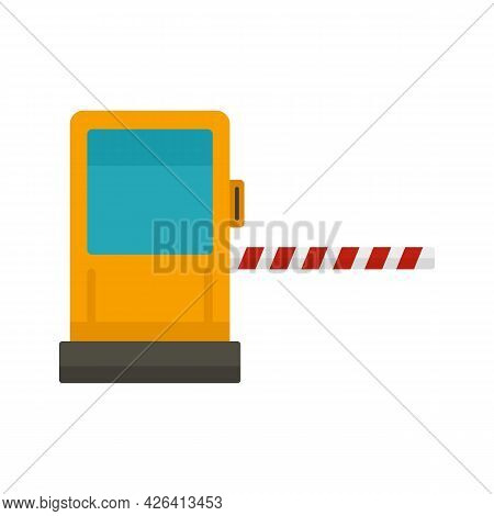 Toll Road Gate Icon. Flat Illustration Of Toll Road Gate Vector Icon Isolated On White Background