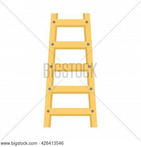 Wood Ladder Icon. Flat Illustration Of Wood Ladder Vector Icon Isolated On White Background