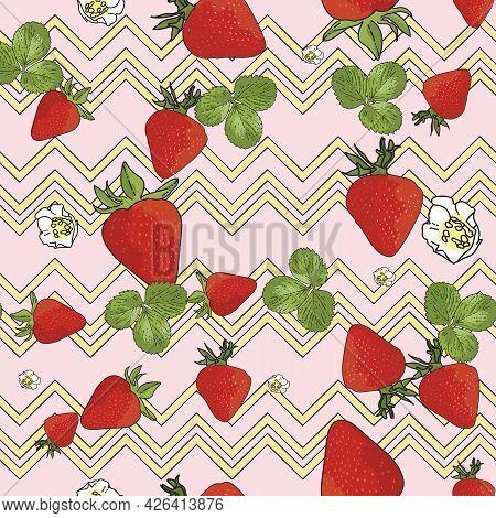 Vector Pastel Pink Background Garden Strawberries, Berry Flowers, Berries Fruits. Seamless Pattern B