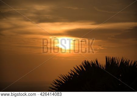 Beautiful Stunning Scenic Panoramic View Of The Golden Sky And Reflections On The Andaman Sea With P