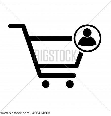 Shopping Cart User Sale Icon, Market Story Shop Vector Illustration Symbol Isolated On White Backgro