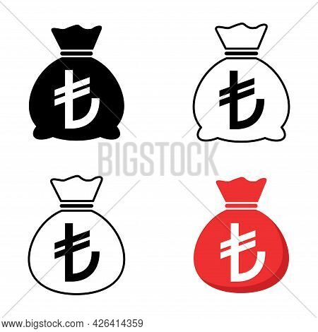 Set Of Money Bag Icon Isolated On White Background. Bank Symbol, Profit Graphic, Flat Web Sign .