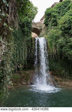 Waterfall Under An Ancient Stone Bridge At Tobera, Near Frias, Merindades, Burgos, Spain.leisure And