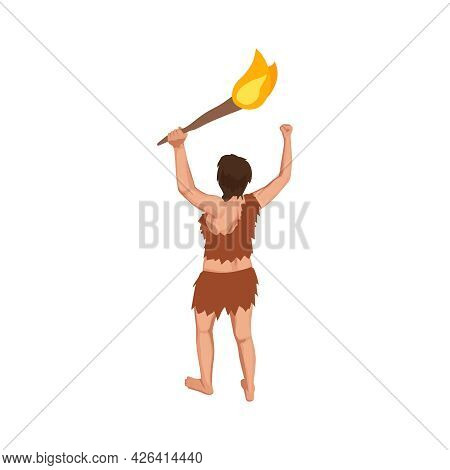 Back View Of Caveman Holding Torch 3d Isometric Vector Illustration