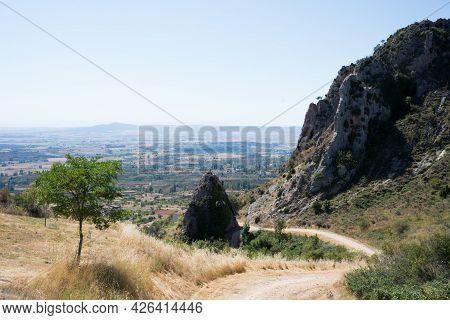 Beautiful Pathway Near Poza De La Sal For Trekking. Aerial View, Merindades, Burgos, Spain, Europe
