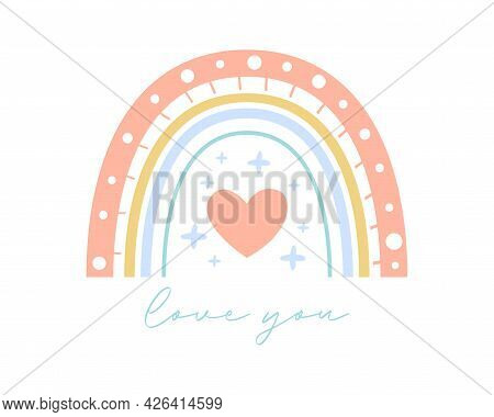Rainbow Vector Illustration With Love You Text. Flat Boho Rainbow For Romantic Valentine's Day Greet