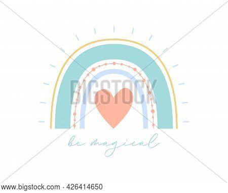 Cute Boho Rainbow Vector Illustration With Heart. Flat Scandi Kids Style Rainbow For Romantic Valent