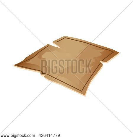 Torn Old Parchment On White Background Cartoon Vector Illustration