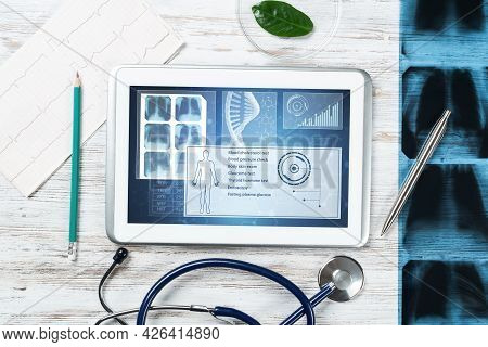 Modern Social Health Insurance Program. Tablet Computer With Healthcare Application Interface On Scr
