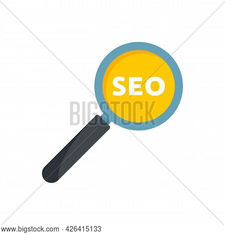 Seo Magnifier Icon. Flat Illustration Of Seo Magnifier Vector Icon Isolated On White Background
