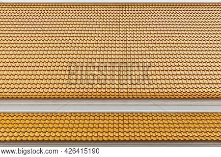 Yellow Galvanized House Roof Pattern And Background Seamless