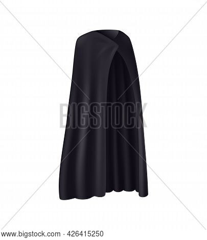 Black Robe With Folds On White Background Realistic Vector Illustration