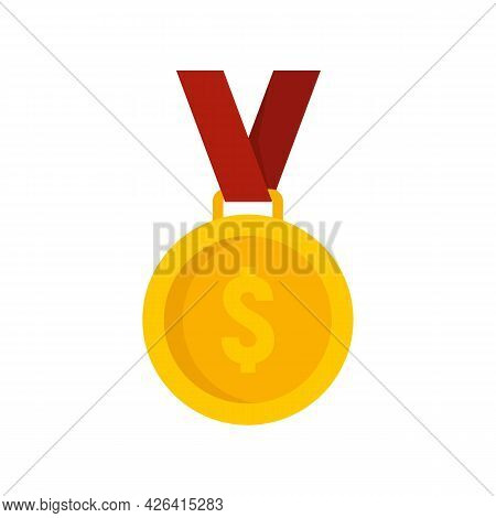 Dollar Gold Medal Icon. Flat Illustration Of Dollar Gold Medal Vector Icon Isolated On White Backgro