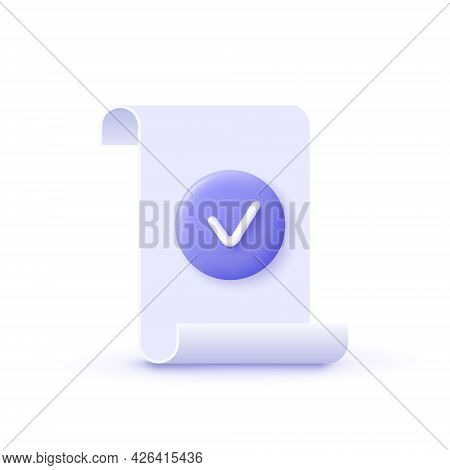 Approval Icon, Document Accredited, Authorized Agreement, Accreditation Symbol With Checkmark. 3d Ve