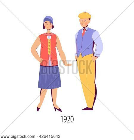 Woman And Man Dressed In Fashion Of 1920 Flat Isolated Vector Illustration