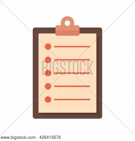 Paper Clipboard Icon. Flat Illustration Of Paper Clipboard Vector Icon Isolated On White Background