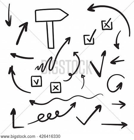 Set Of Vector Arrows, Signpost, Check Mark Hand Drawn. Sketch Doodle Style. Collection Of Pointers.