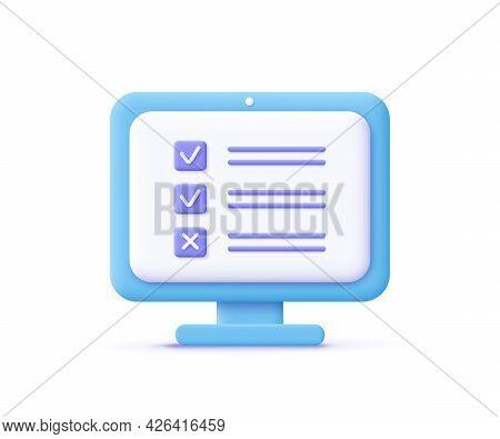 Assignment Icon. Сomputer Screen, Checklist, Document Symbol. 3d Vector Illustration.